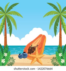 exotic tropical fruit with papaya, bluberries and decorated with starfish icon cartoon over the beach with seascape vector illustration graphic design