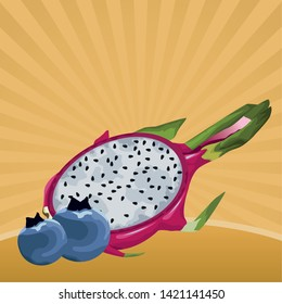 exotic tropical fruit with pitahaya and bluberries icon cartoon in pop art background vector illustration graphic design