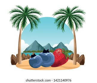 exotic tropical fruit with strawberry and bluberries icon cartoon over sand with palm background vector illustration graphic design
