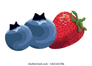 exotic tropical fruit with strawberry and bluberries icon cartoon vector illustration graphic design