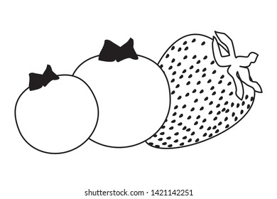 exotic tropical fruit with strawberry and bluberries icon cartoon in black and white vector illustration graphic design