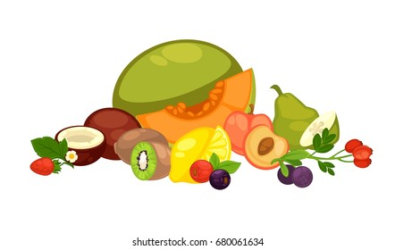 Exotic tropical fruits and forest berries isolated illustration