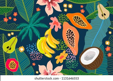 Exotic tropical garden. Wide seamless botanical pattern with flowers, fruits and different plants on indigo background. Design inspired by 1950s-1960s design. Retro textile collection.