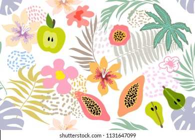 Exotic tropical garden. Wide seamless botanical pattern with flowers, fruits and different plants on white background. Design inspired by 1950s-1960s design. Retro textile collection.