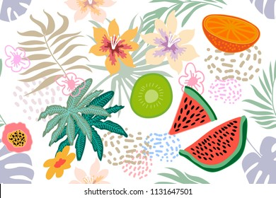 Exotic tropical garden. Wide seamless botanical pattern with flowers, fruits and different plants on light background. Design inspired by 1950s-1960s design. Retro textile collection.