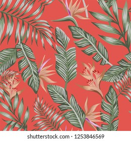 Exotic tropical green palm leaves brown tropical flowers bird of paradise (strelizia) seamless vector pattern trendy living coral background