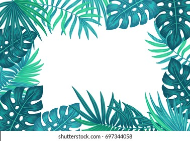 Exotic tropical jungle floral frame with palm tree, monstera leaves and place for text
