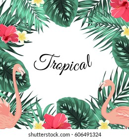 Exotic tropical jungle rain forest bright green palm tree and monstera leaves, pink flamingo birds, hibiscus and plumeria flowers frame template with place for text on white background