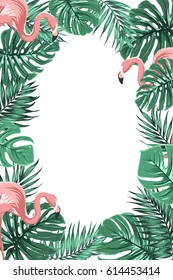 Exotic tropical jungle rain forest bright green palm tree and monstera leaves with pink flamingo birds border frame template on white background. Vertical portrait aspect ratio. Text placeholder.