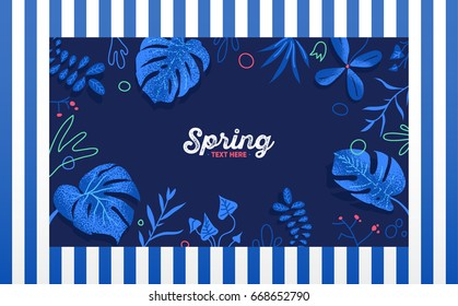 Exotic tropical jungle rainforest blue monstera leave and plants frame template with place for text on striped background. Vector illustration.Invitation, greeting card, friend letter, shopping flyer