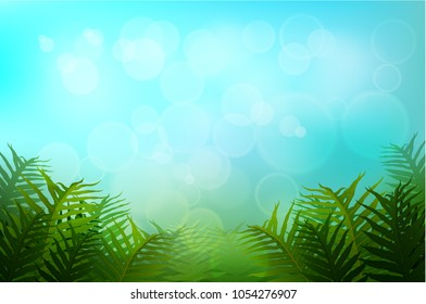 Exotic tropical leaf and frower border background for invitation greeting template of Summer. Bright tropical background with jungle plants. Exotic pattern with tropical leaves. Vector illustration.