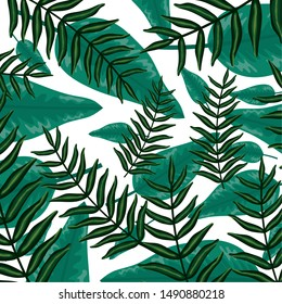 exotic and tropical leafs plants pattern