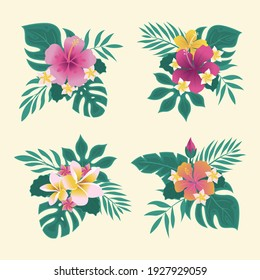 Exotic tropical leaves collection. Tropical leaves set. Exotic plants. Tropical leaves and flowers. Palm leaf,  jungle trees. Jungle exotic leaf. Botanical, floral illustration. Isolated vector.