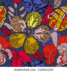 Exotic tropical mix of fruits. Bright floral natural print with plants and fruits. coconut, bananas, palm leaves. Hawaii beach pattern