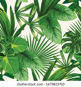 Exotic tropical natural green leaves vector composition on white background. Beach seamless pattern wallpaper