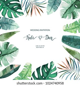 Exotic tropical palm tree. Frame border background. Summer vector illustration. Template for card. Watercolor style