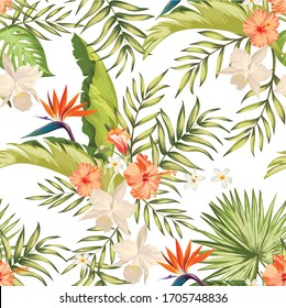 Exotic tropical pattern with strelizia, hibiscus, palm leaves. Summer vector background for fabric, cover,print design.