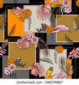 Exotic tropical plants and birds Silk scarf pattern mixed with  square shape ,flowers and leaves and hand drawn ,Design for fashion, fabric, web,wallpaper, wrapping on black