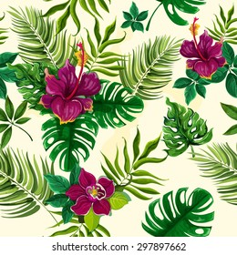 Exotic tropical rainforest plants opulent green leaves with hibiscus flowers wrap paper seamless pattern abstract vector illustration