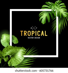 Exotic tropical summer frame with palm leaves. Vector illustration