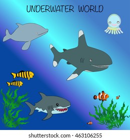 Exotic Tropical Underwater world. Sea animals and fish in the wild habitat.