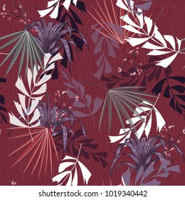 Exotic tropical vector background with hawaiian plants and flowers. Seamless summer bright tropical pattern with monstera and palm leaves, on dark maroon color