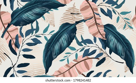 Exotic tropical vector background with Hawaiian plants and flowers. Spathiphyllum leaves background. Vector pattern with jungle leave in trendy style.