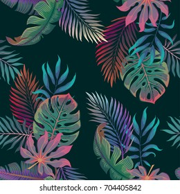 Exotic tropical vector background with hawaiian plants and flowers. Seamless summer pattern with monstera and banana palm leaves on black