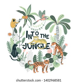 Exotic Tropical wildlife Typographic illustration with Tiger Panther Leopard Monkey Parrot Palm trees plants Into the jungle lettering Rainforest nature inspired summer t-shirt print for kids