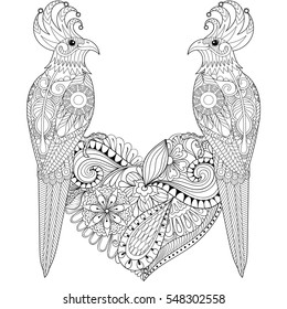 Exotic tropical zentangle bird lovely couple for adult anti stress coloring page, parrots sitting on heart for art therapy, greeting card. Hand drawn patterned illustration for St Valentine day.