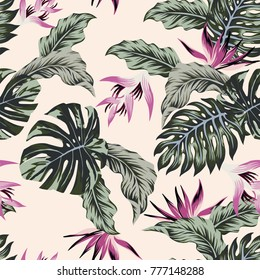 Exotic vector flowers tropical leaves green seamless light pink background.Trendy seamless pattern beach wallpaper