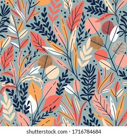 Exotic vector seamless pattern with eucalyptus leaves and plant branches. Tropical floral background