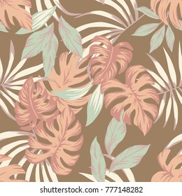 Exotic vector tropical leaves indian summer color sammer wallpaper seamless pattern