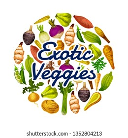 Exotic veggies icon, healthy food. Vector peas and chayote, horseraddish and beet, celery and turnip, parsnip and swede, mini corn and rutabaga, cassava and arracacia, caigua and jicama with yam