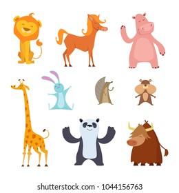 Exotic wild animals in cartoon style. Wild mammal character, tropical hippopotamus and panda, bull and giraffe, buffalo illustration vector