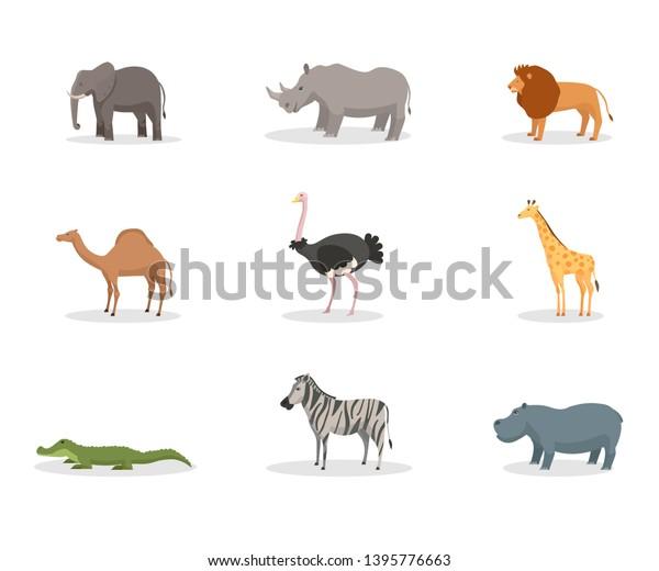 Exotic Wild Animals Flat Vector Illustration Stock Vector (Royalty ...