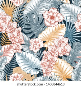 Exotic wild flowers and leaves seamless pattern. Elegant wallpaper. Tropical style. Vector illustration