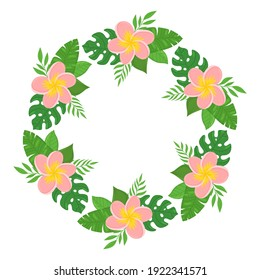 Exotic wreath with flowers and tropical leaves. Place for text. Can be used for wedding invitations, greeting cards, prints, postcards, posters. Vector illustration isolated on white background