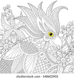 Exotic zentangle cockatoo parrot for adult anti stress coloring pages, book, bird head in tropical flowers for art therapy, greeting card. Hand drawn patterned illustration
