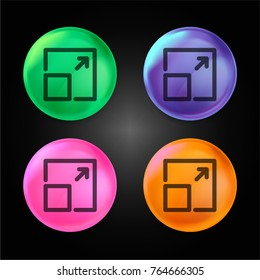 Expand button crystal ball design icon in green - blue - pink and orange.