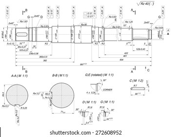 Expanded sketch of shaft with rotated bar graph. Engineering drawing with lines, angle degrees and numbers. Vector image