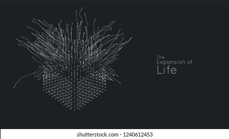 Expansion of life. Vector cube explosion background. Small particles strive out of center. Blurred debrises into rays or lines under high speed of motion. Burst, explosion backdrop.