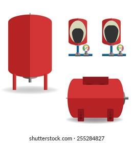Expansion tank set. Flat design vector illustration.