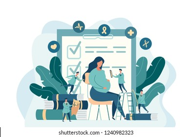 expectant mother, pregnant woman at the doctor's office. little doctors examine a pregnant girl. vector illustration in modern style
