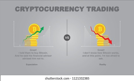 Expectation vs Reality cryptocurrency trading. What do you think is buying cryptocurrency vs what it really is. Chart going up vs chart going down. Losing money fast on the slope.