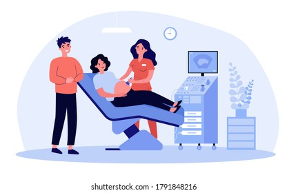 Expecting couple visiting doctor for ultrasound test. Sonographer using scanner for pregnant woman examination. Vector illustration for sonography, pregnancy, consultation concept