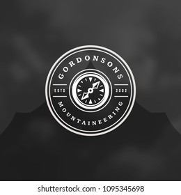 Expedition logo design vector illustration. Outdoor adventure leisure, compass silhouette shirt, print stamp. Vintage typography badge template.