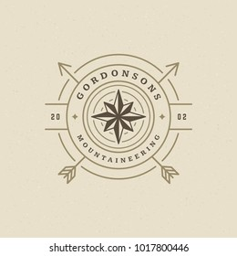 Expedition logo emblem vector illustration. Outdoor adventure leisure, compass silhouette shirt, print stamp. Vintage typography badge design.