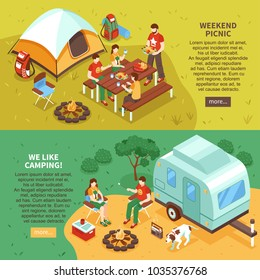 Expedition travel hiking 2 horizontal isometric webpage banners with weekend family picnic camping vacation isolated vector illustration