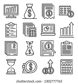 Expense report icons set. Outline set of expense report vector icons for web design isolated on white background